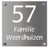 Naambord aluminium 12 x 12 cm