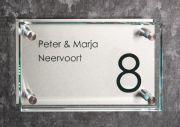 Glazen naambord met RVS 25 x 15 cm
