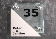 Glazen naambord met RVS 16 x 16 cm