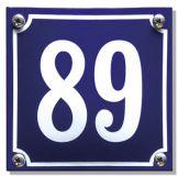 Emaille huisnummer blauw 10 x 10 cm