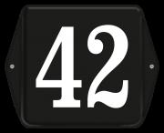 Emaille huisnummer met oor 12 x 12 cm