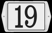 Emaille huisnummer met oor en sierkader 16 x 12 cm