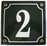 Emaille huisnummer zwart met kader 10 x 10 cm