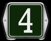 Emaille huisnummerbord met oor en sierkader 6 x 6 cm