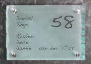 Glazen naambord gebrokkeld 30 x 20 cm