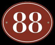 Huisnummerbord klassiek ovaal 15 x 12 cm rood