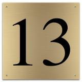 Messing huisnummerbord 15 x 15 cm