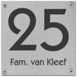 RVS naambord gelaserd 12 x 12 cm