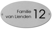 RVS naambord ovaal 20 x 12 cm