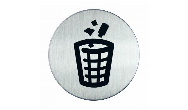 RVS pictogram prullenbak
