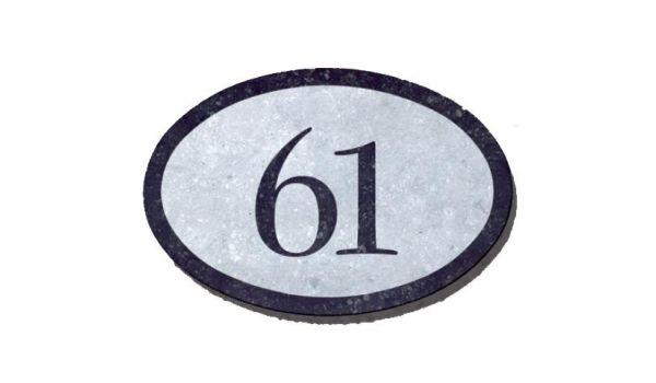 Natuursteen huisnummer ovaal
