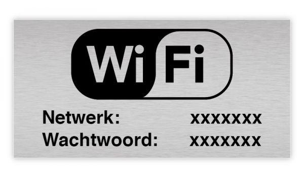 Aluminium rvs look wifi bordje