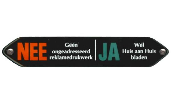 Emaille Nee Ja sticker (bord)