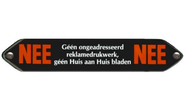 Emaille Nee Nee sticker (bord)