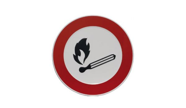 Verbodsbord aluminium Open vuur verboden