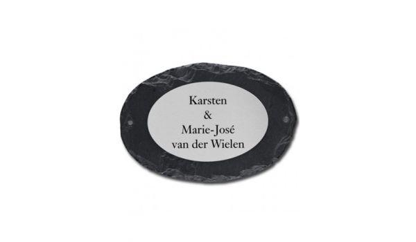 Leisteen naambord met RVS plaat