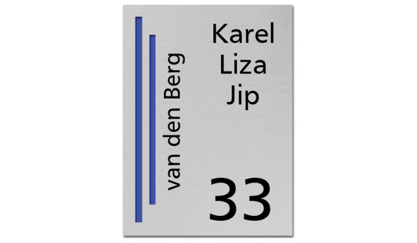 RVS Naambord 2-laags blauw