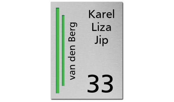 RVS Naambord 2-laags groen