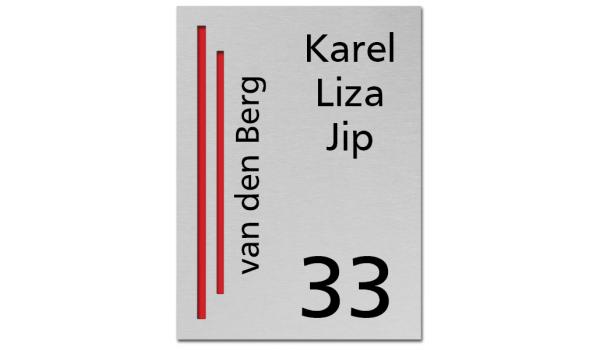 RVS Naambord 2-laags rood