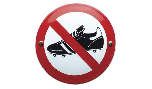 """Verbodsbord """"voetbalschoenen verboden"""""""