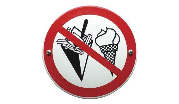 """Verbodsbord """"eten verboden"""""""
