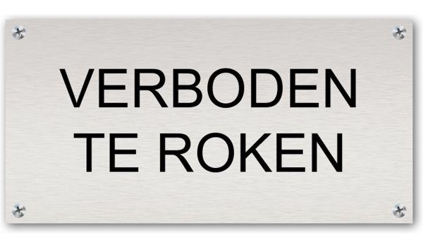 Tekstbord Aluminium Verboden te roken