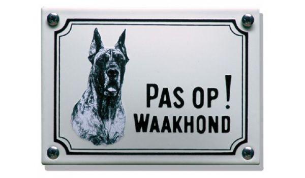 Hier waak ik bordje met foto Deense Dog