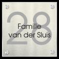 Naambord plexiglas met aluminium rvs 20 x 20 cm