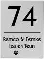 RVS blind naambord 15 x 20 cm