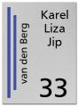 RVS Naambord 2-laags blauw 15 x 20 cm