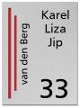 RVS Naambord 2-laags rood 15 x 20 cm
